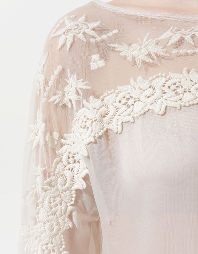 Zara Combined Embroidered Blouse 40