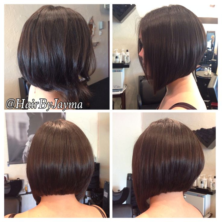 Before and after of a graduated bob haircut. Hair by Jayma