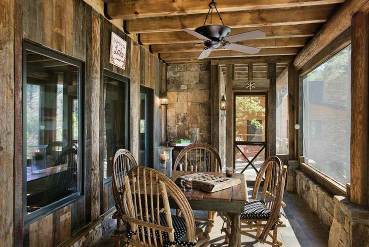 Rustic porches pinterest for Log cabin sunrooms