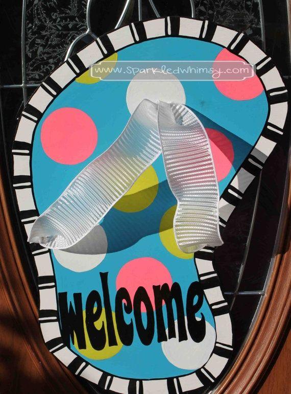 Welcome Flip Flop Door Hanger Sign | door hangers | Pinterest