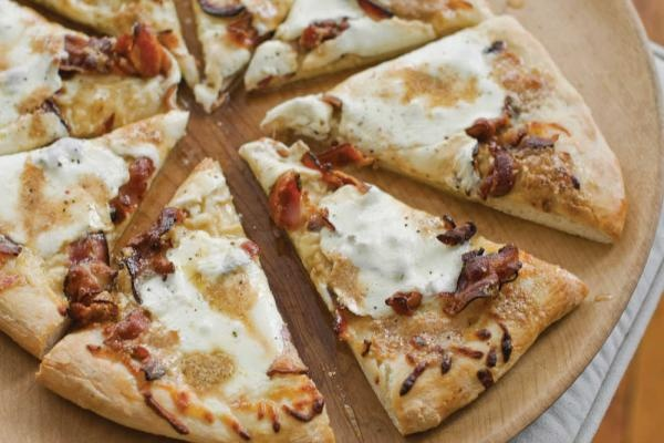 ... Fried Breakfast Pizza With Sausage, Eggs, Parmesan, And Hollandaise