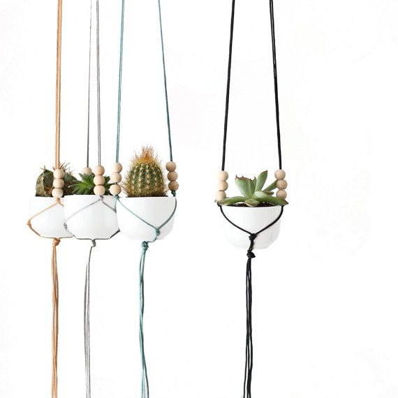 Mini Hanging Planter with Cup  Modern Macrame Planter  Plant Hanger ...