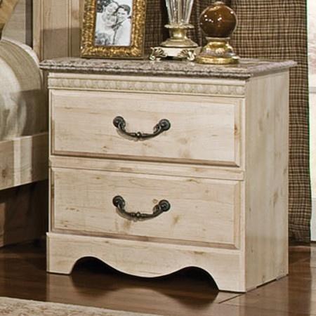 distressed wood nightstand