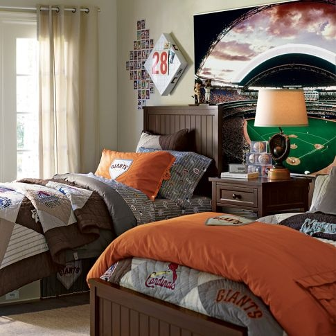 boy bedroom i like the giant picture of the stadium on the back wall