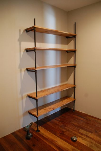 wood shelves and plumbing lines | Bricolage | Pinterest