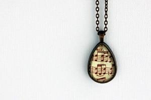 Vintage style necklace sheet music jewelry in by GildedNotes