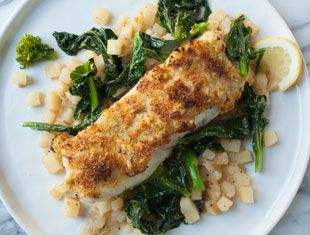 Miso-Ginger Crusted Pollock with Chinese Broccoli & Roasted Potatoes ...