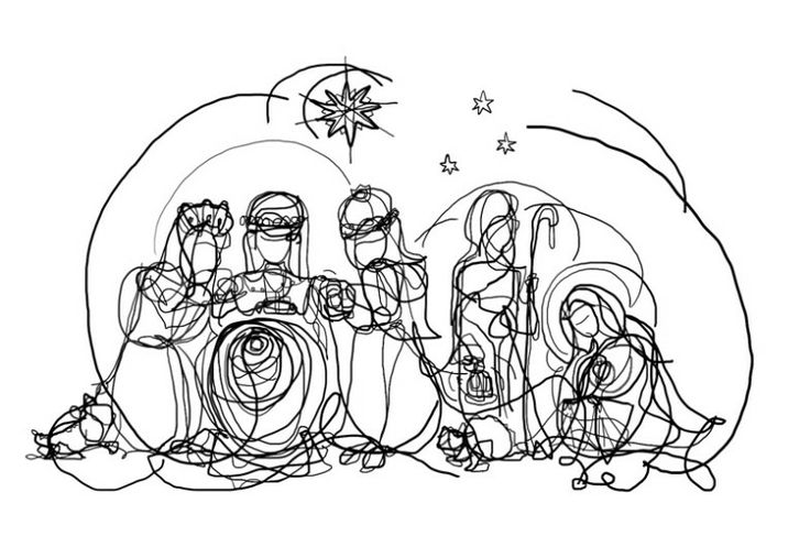 Line Art Nativity : Drawings of the manger scene new calendar template site