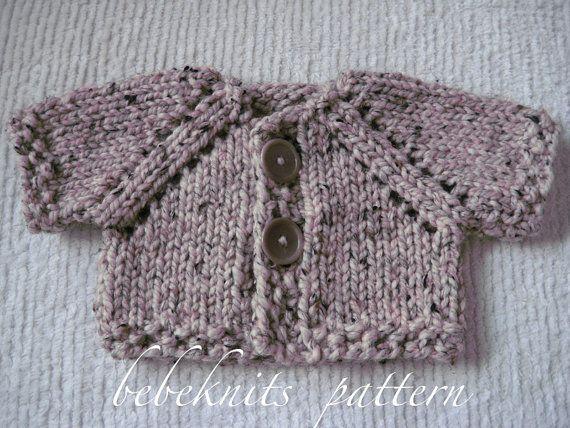 Quick Cardigan Knitting Pattern : Bebeknits Quick Knit Two Button Baby Cardigan Knitting Pattern