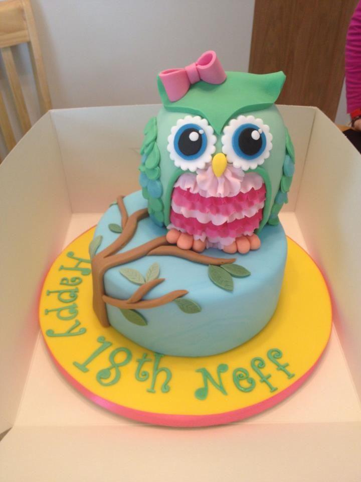Owl happy birthday cake