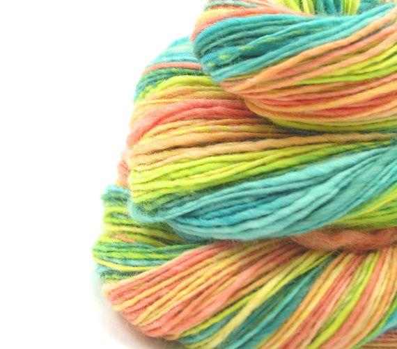 Sport Weight Yarn : Handspun yarn sport weight 100% BFL, 4 oz, 360 yards, blue green yell ...