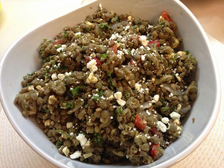Lentil Salad with Roasted Red Pepper and Feta / Zagleft #vegetarian # ...
