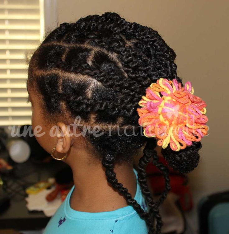 Updo with Ghana Plaits! Natural Hair Styles for Kids - Lil Naturell ...