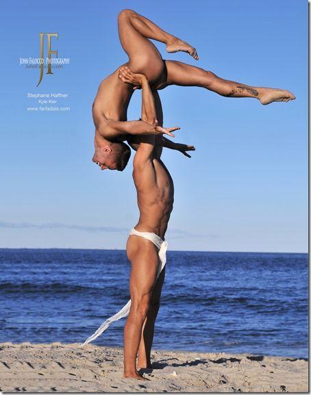Nude male acrobats. Kyle Kier and Stephane Haffner. Photo by John Falocco.