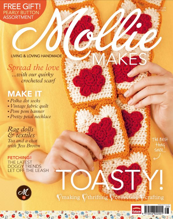 Twinkie Chan Toast Scarf on the cover of Mollie Makes Magazine