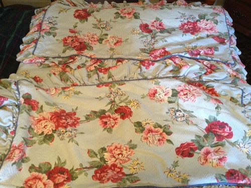 Vintage ralph lauren floral polo comforter set king rare cynthia chic