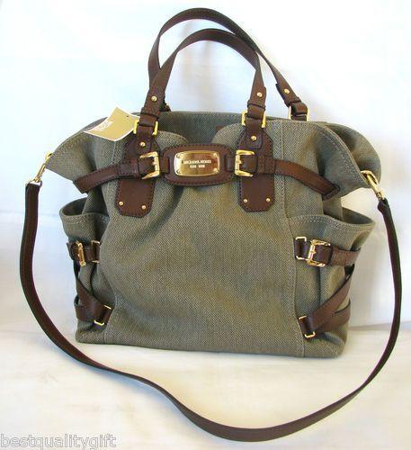 michael kors gansevoort hemp mocha brown lrg cotton leather tote bag msr 428 nwt. Black Bedroom Furniture Sets. Home Design Ideas