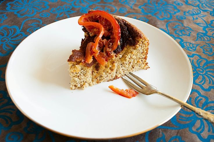 Hazelnut, honey and orange cake with orange blossom custard