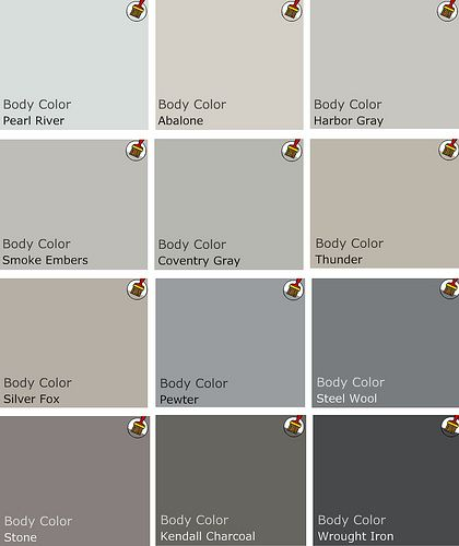 PAINT. Recommended palette of grey Benjamin Moore Paints from interview on Design Crisis- my favorite color palate!