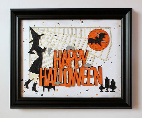"""Happy Halloween"" wall decor by Juliana Michaels, using the NEW A Frightful Affair cartridge!"