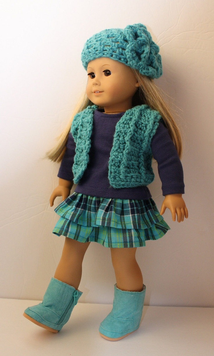 Crocheting Doll Clothes : Inspiration~Crochet Vest, Hat, Skirt, T-shirt, and Boots Fits American ...