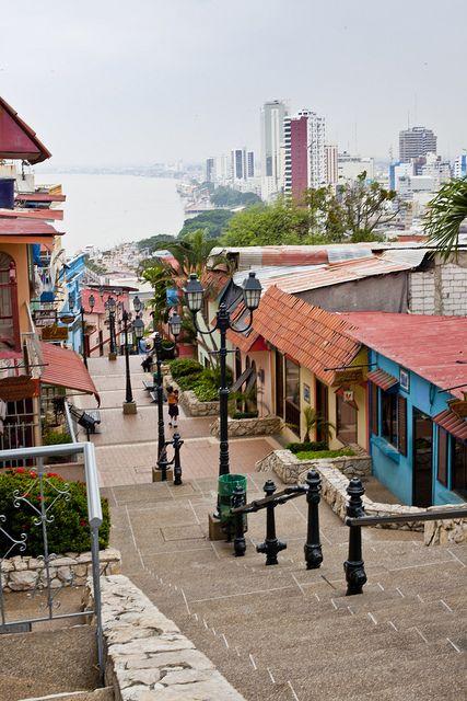 Escalinatas del Barrio Las Peñas, en Guayaquil, en la Provincia del Guayas, en la costa ecuatoriana.