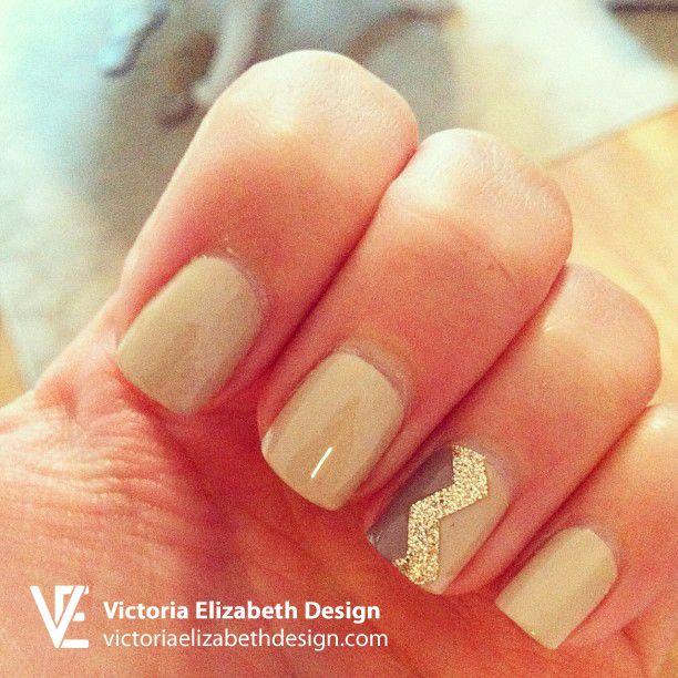 Chevron nails nail polish nail design nail art nude nails gold nails glitter nails - Nail art nude ...