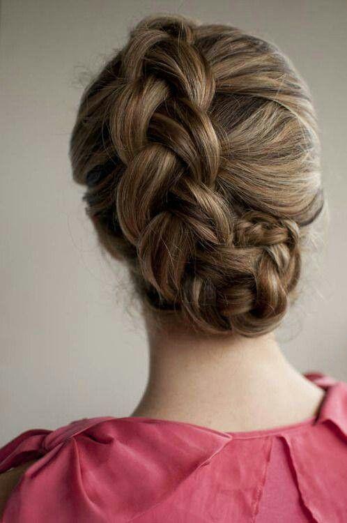 Braided bridal hair updo.