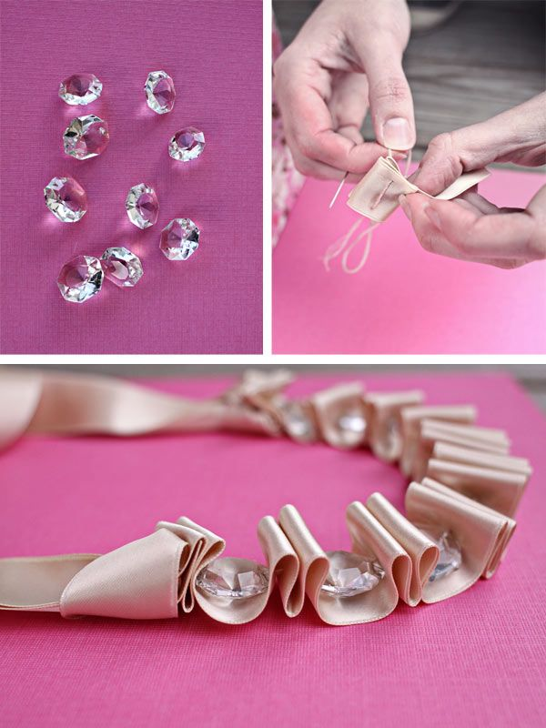 DIY ribbon necklace.