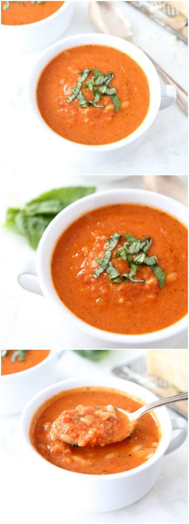 Creamy Tomato Orzo Soup Recipe on twopeasandtheirpod.com Love this ...
