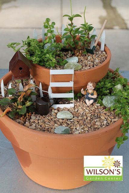 Good start - Two story Fairy Garden - but needs more to it!