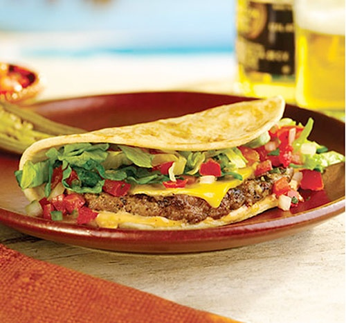 Taco Burger - Can use a flour or corn tortilla or taco shell - Cook ...
