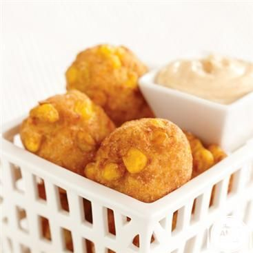 Crispy Corn Fritters with Creamy Maple Chipotle Sauce by The Power of ...