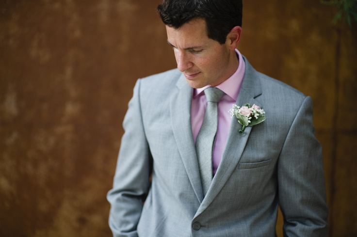Grey Groomsmen Suits with Pink Tie