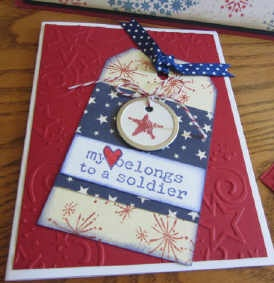 """Paper Blessings """"my heart belongs to a soldier"""" card."""