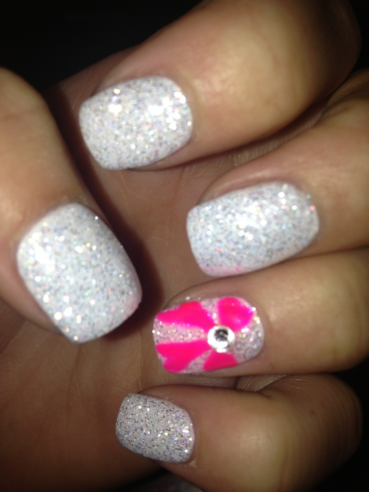 hot pink nails with diamonds - photo #48