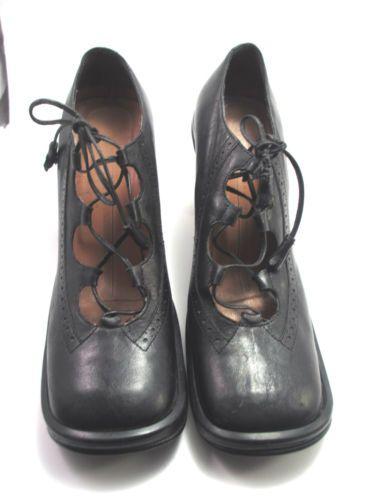 Bcbg max azaria black lace up heels shoes size 8 us 38 1 2 eur