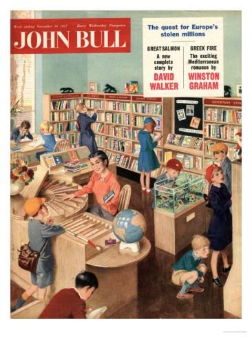 John Bull, Libraries Books Magazine, UK, 1950 Premium Poster