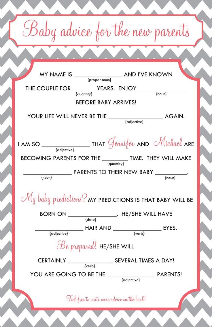baby mad libs baby advice printable digital file via etsy