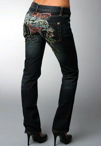 Christian Audigier Women's Colorful Signature Denim Straight Leg In