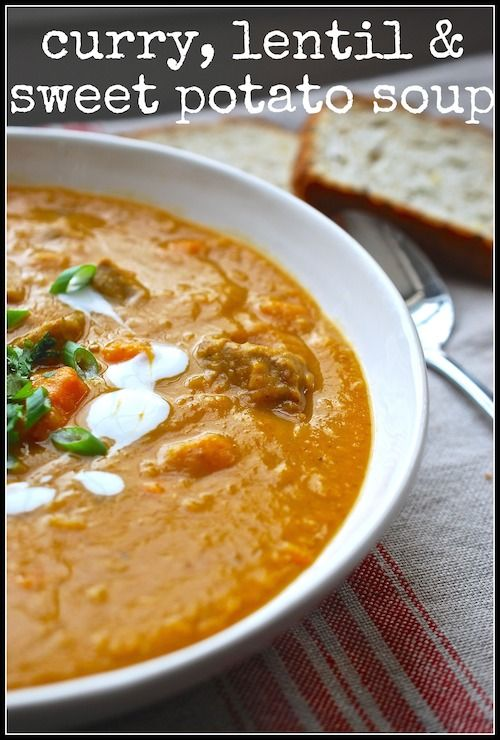 Delicious curry, lentil, and sweet potato soup via lifeovereasy.com/ # ...