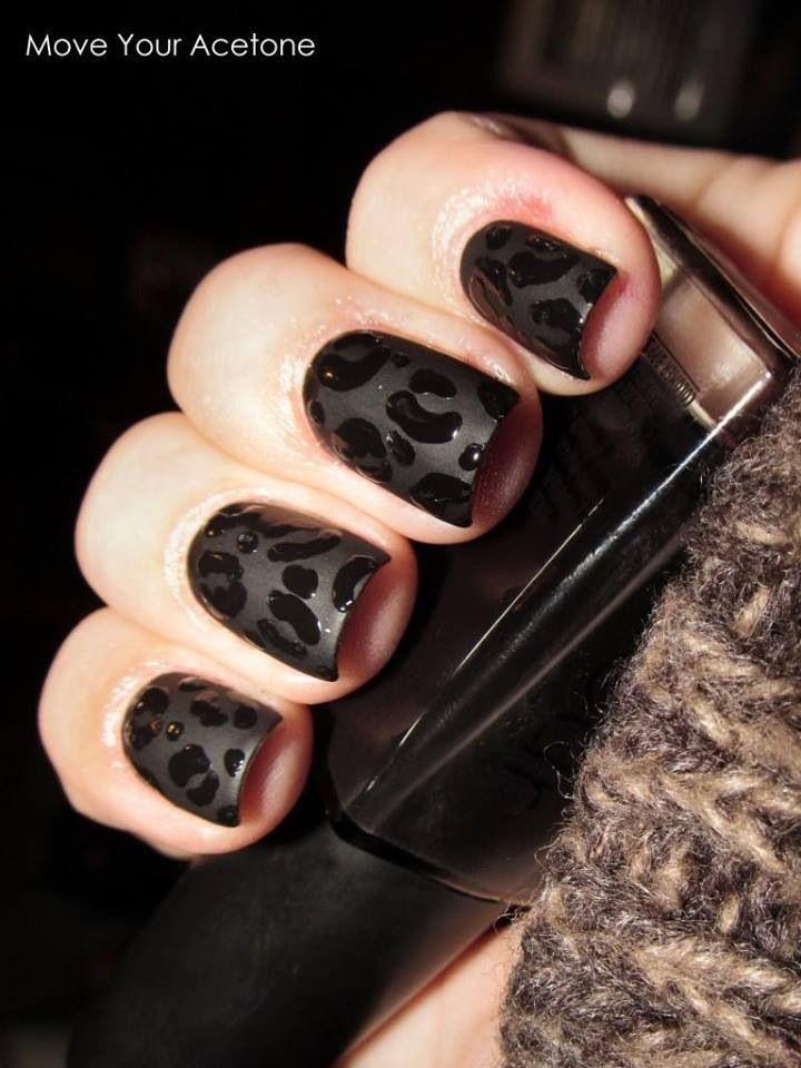 Black mat animal print | Nail art designs | Pinterest