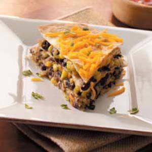 black bean tortilla pie recipe substitute corn for the flour tortilla