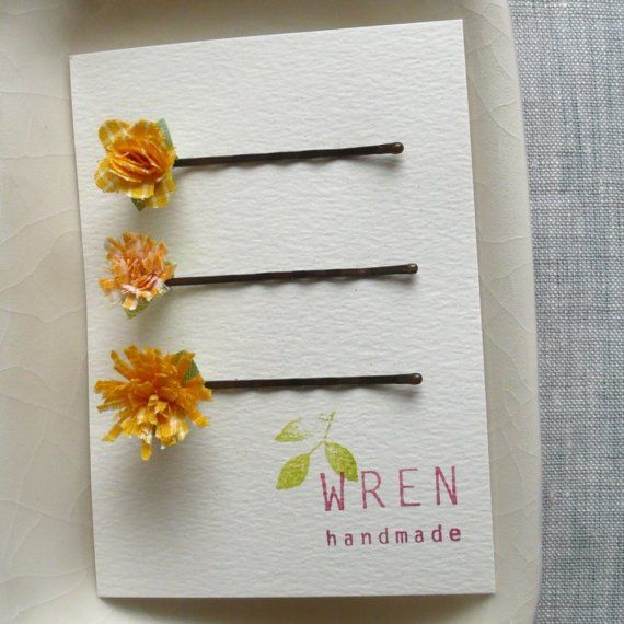Fabric flower hairclips