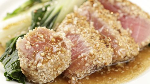 Sesame-Crusted Seared Ahi Tuna with Ginger Dressing and Pan-Seared ...