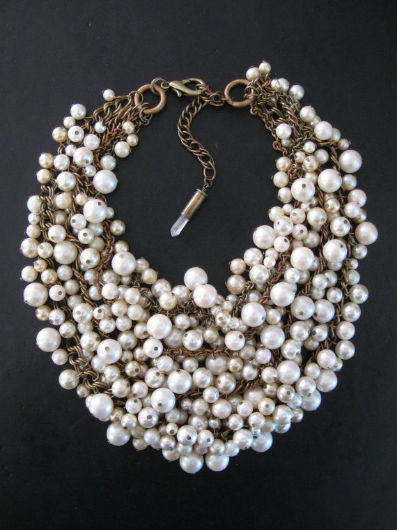 Mermaid farts upcycled pearl bib necklace cream ecru and brass