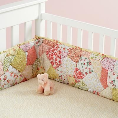 Baby Crib Bedding: Baby Crib Yellow and Pink Floral Print Patchwork Bedding I LOVE THIS