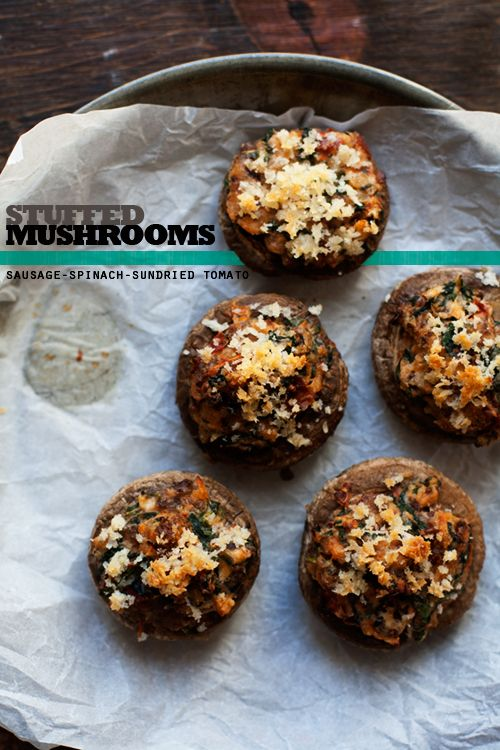 Sausage, Spinach, + Sundried Tomato Stuffed Mushrooms ...
