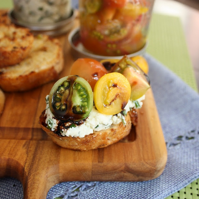 ... Off Your Tush and Cook: Herbed Ricotta and Heirloom Tomato Crostini