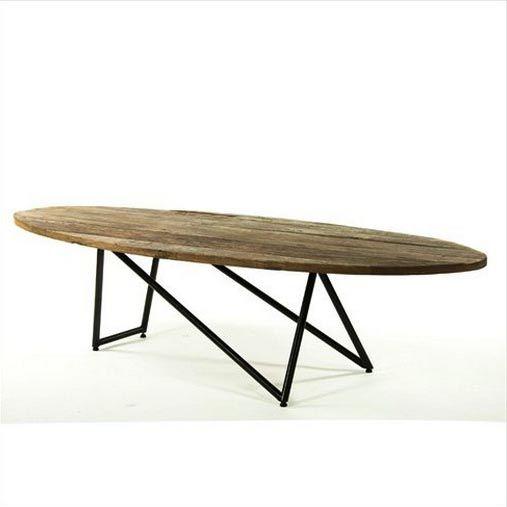 Rustic ellipse coffee table